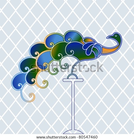 Peacock with diamond pattern background - stock vector