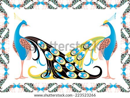 Peacocks in the decorative framework - stock vector