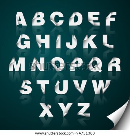 Pealed paper alphabet - stock vector