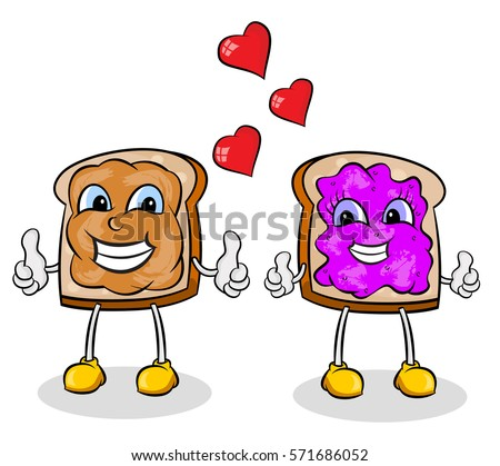 peanut butter jelly cartoon stock vector 2018 571686052 shutterstock rh shutterstock com peanut butter and jelly sandwich clip art peanut butter and jelly clipart