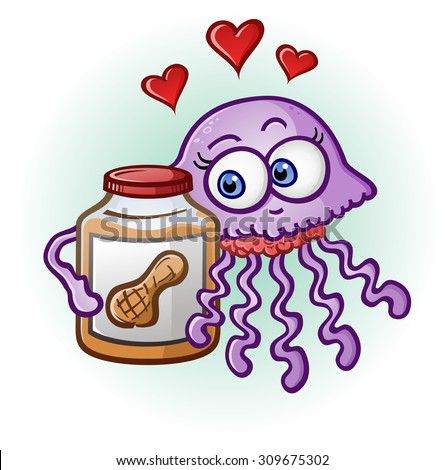 Peanut Butter and Jelly Fish Cartoon Character - stock vector