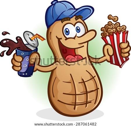 Peanut Cartoon Character Sports Fan Drinking Soda Pop - stock vector