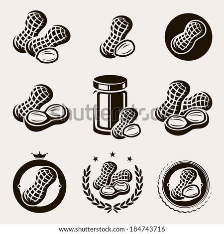 Peanuts label and icons set. Vector - stock vector