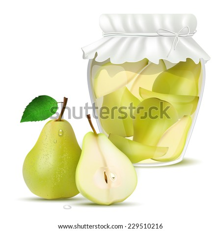 Pear compote in a jar and fresh pears - isolated on white background. Vector illustration. - stock vector