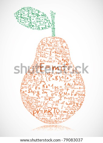 Pear made of equations and formula - stock vector