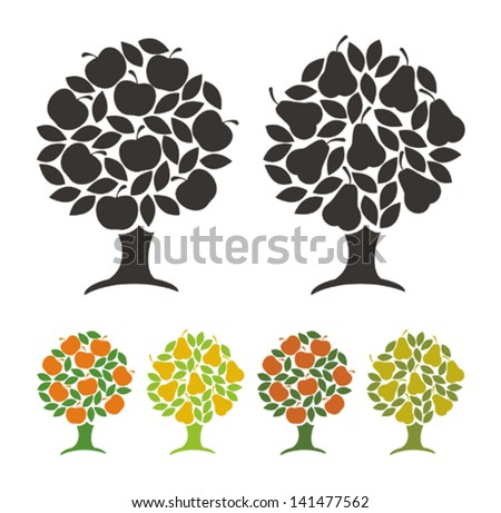 Pear tree and apple tree. Vector illustration. - stock vector