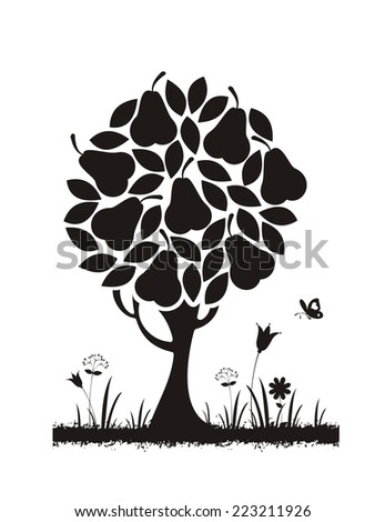 Pear tree. Vector silhouette.  - stock vector