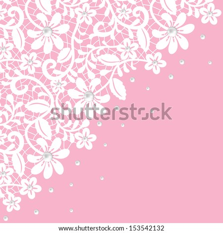 Pearl and lace border on pink background