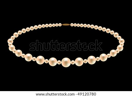 Pearl necklace - stock vector