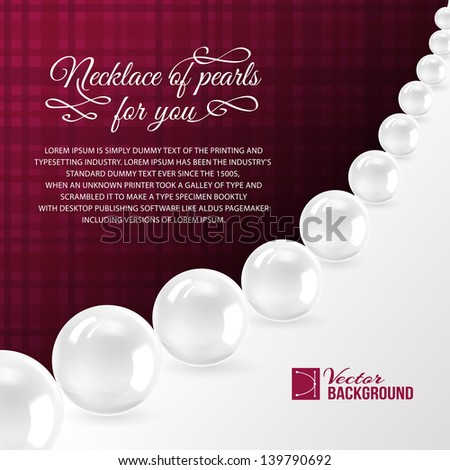 Pearl necklace on red. Vector illustration, contains transparencies, gradients and effects. - stock vector
