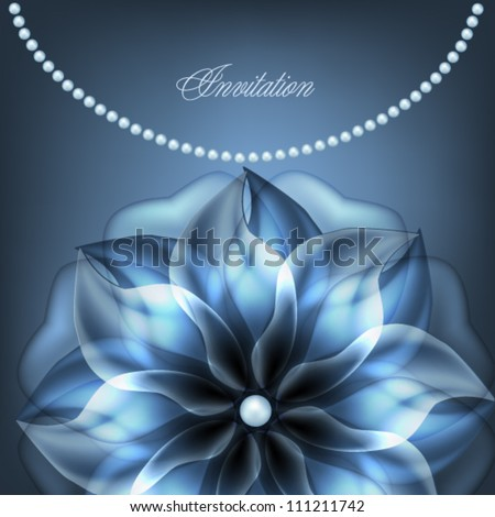 Pearl necklace with blue flower - stock vector