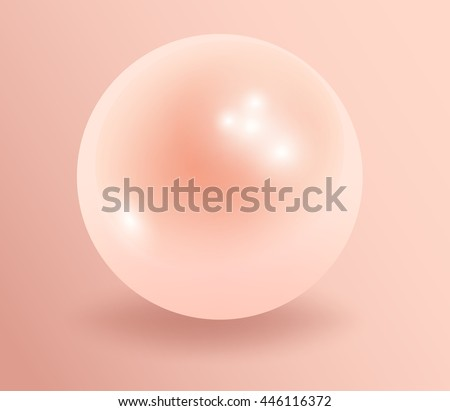 Pearl. Pink Pearl isolated on  background, decor, decoration. Realistic vector object. Vector illustrations. 10 eps - stock vector
