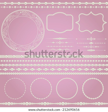 pearl realistic mega set collection isolated on purple pink background. vector illustration  - stock vector