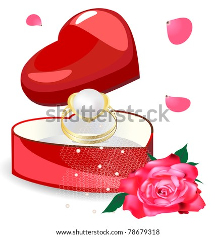pearl ring in the box-heart - stock vector