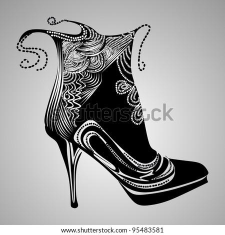 pearl shoe vector - stock vector