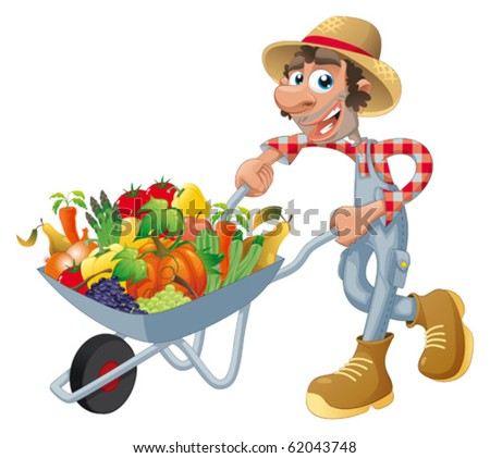 Peasant with wheelbarrow, vegetables and fruits. Cartoon and vector illustration, isolated objects. - stock vector