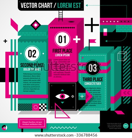 Pedestal chart layout in weird geometric style with abstract shapes and flashy colors. EPS10 vector template - stock vector