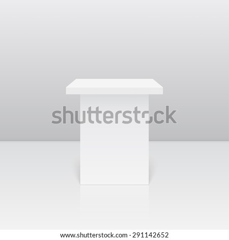 Pedestal for display. Platform for design. Realistic 3D empty podium - stock vector