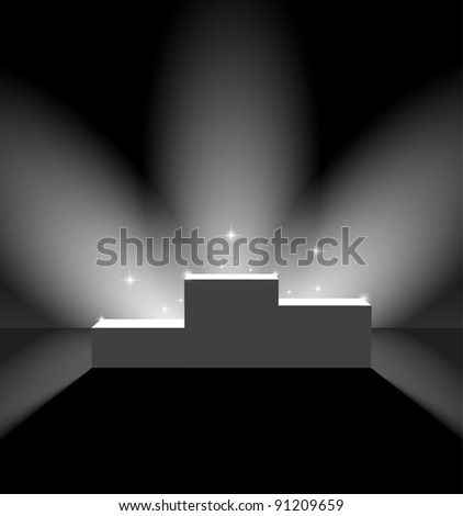 Pedestal in black lightened room - stock vector