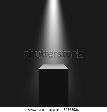 Pedestal with light source, vector illustration. - stock vector