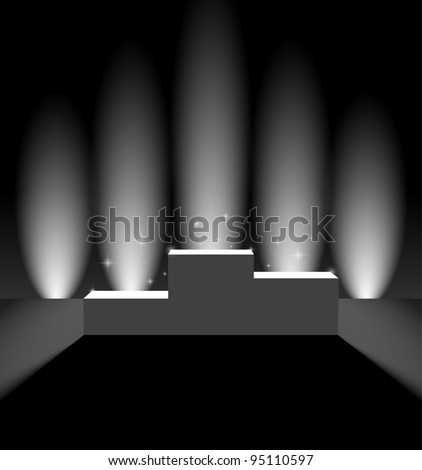 Pedestal with vertical background lights - stock vector
