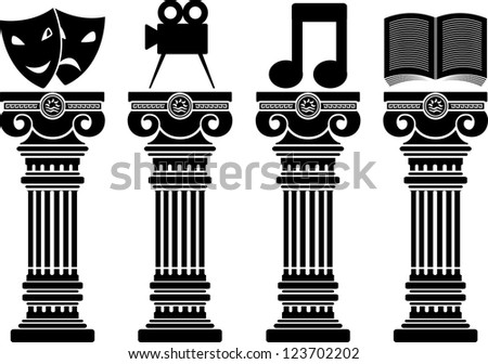 pedestals of arts. stencils. vector illustration - stock vector