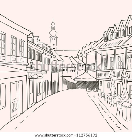 Pedestrian street in the old city with cafes and church on the background. Historic city street. Street in Zagreb. Hand drawn sketch. Vector illustration.