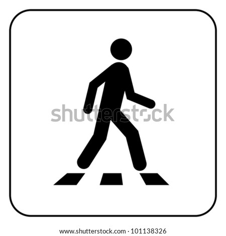 Pedestrian symbol, isolated on white, vector - stock vector