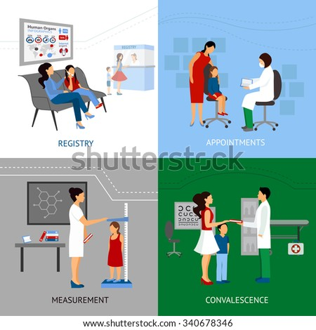 Pediatrician design concept set with registry and apointment flat icons isolated vector illustration - stock vector