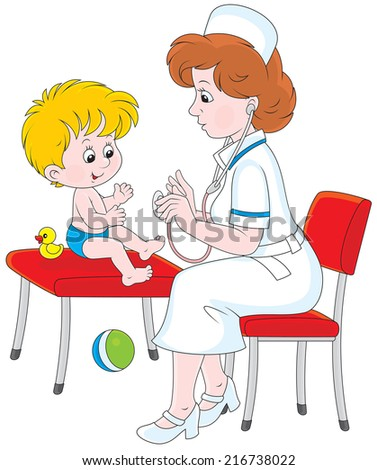 Pediatrician examines a little child in a pediatric polyclinic - stock vector