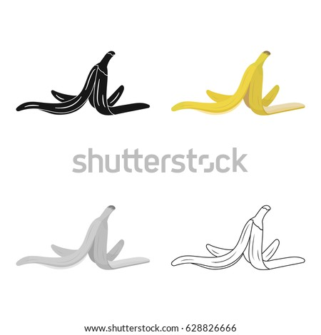 Peel of banana icon in cartoon style isolated on white background. Trash and garbage symbol stock vector illustration.