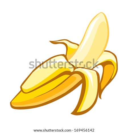 peeled banana isolated on white background - stock vector