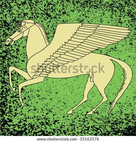 Pegasos - Mythological horse against distressed background - stock vector