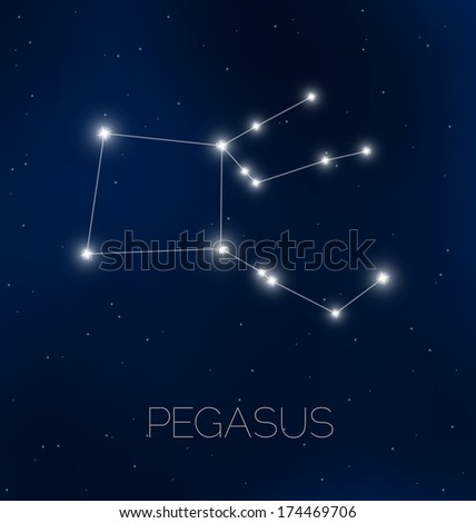 Pegasus constellation in night sky - stock vector