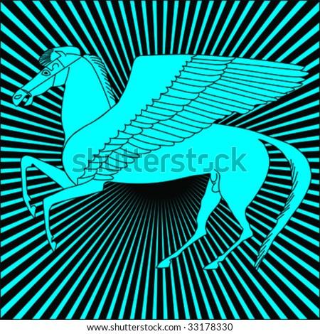 Pegasus - Flying horse against sunbeamed background - stock vector