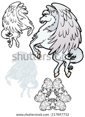 Pegasus in flight, with variations. - stock vector