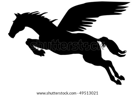 Pegasus silhouette on the white background - stock vector