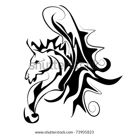 Pegasus tribal vector - stock vector