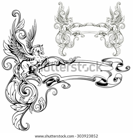 Pegasus winged heraldic decoration fantastic animal vector illustration