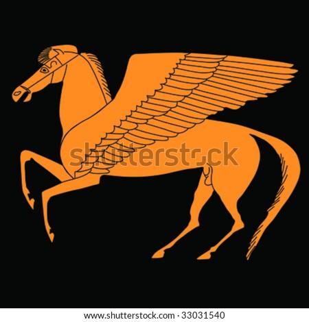Pegasus -winged horse;  Vector Illustration - stock vector
