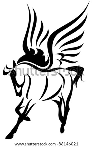 pegasus (winged horse) vector illustration - symbol of inspiration - stock vector