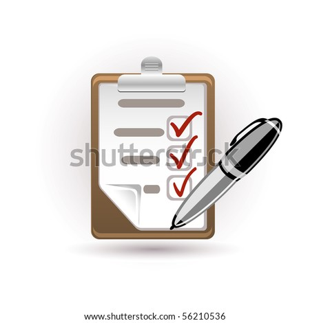 pen and note - stock vector