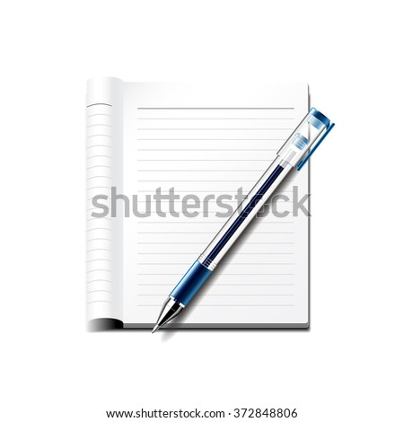 Pen and notebook isolated on white photo-realistic vector illustration - stock vector