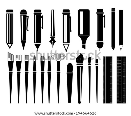 Pen and paintbrush Icon - stock vector