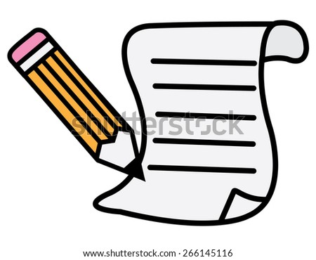 pen and paper - stock vector