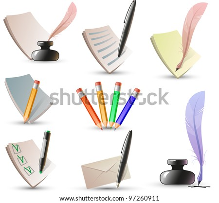 pen and pencil icons - stock vector