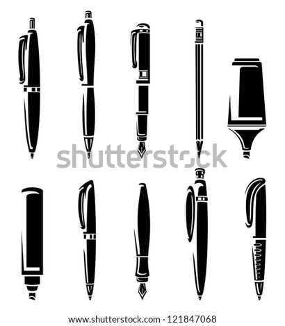 Pen and pencil markers collection set. Vector
