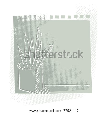pen and pencils in a can, freehand drawing, artistic vector background - stock vector