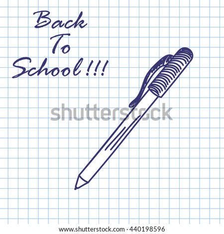 Pen. Doodle sketch on checkered paper background. Vector illustration. - stock vector