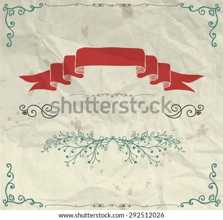 Pen Drawing Invitation Greeting Card with Doodle Hand Sketched Elements on Crumpled Paper Texture. Decorative Vintage Design Elements. Frames, Dividers, Swirls. Vector Illustration - stock vector
